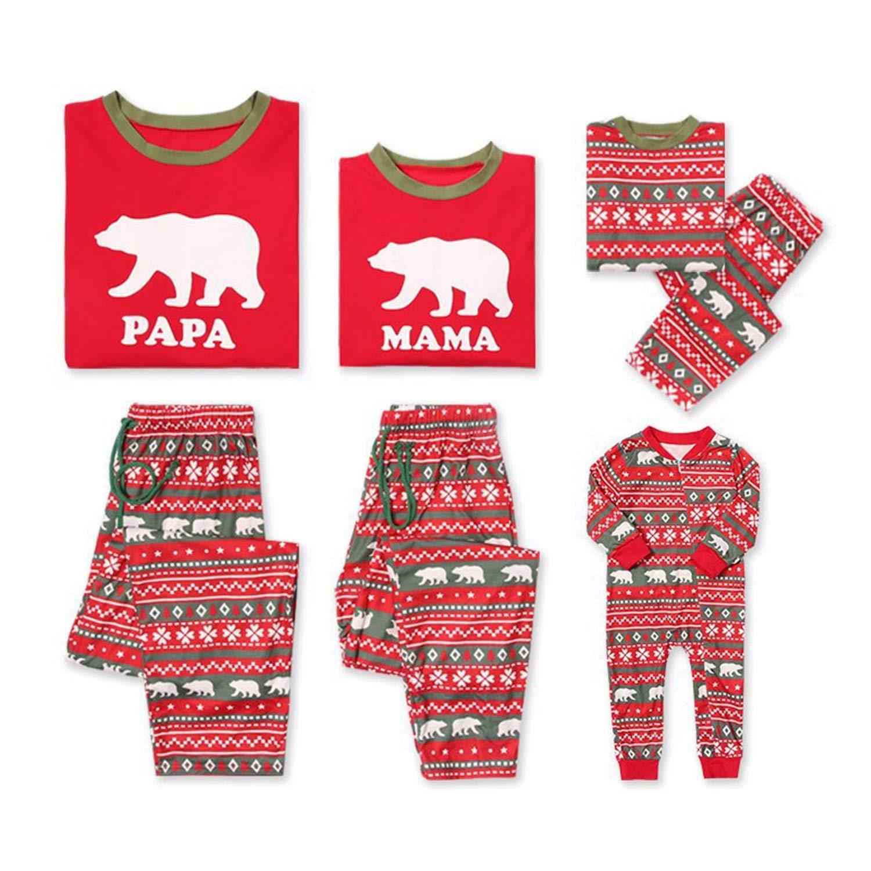 Aiybao Christmas Holiday Family Matching Polar Bear Pajama PJ Sets
