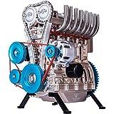 Yamix Full Metal Engine Model Desk Engine, Unassembled 4 Cylinder Inline Car Engine Model Building Kit Mini DIY Engine Model