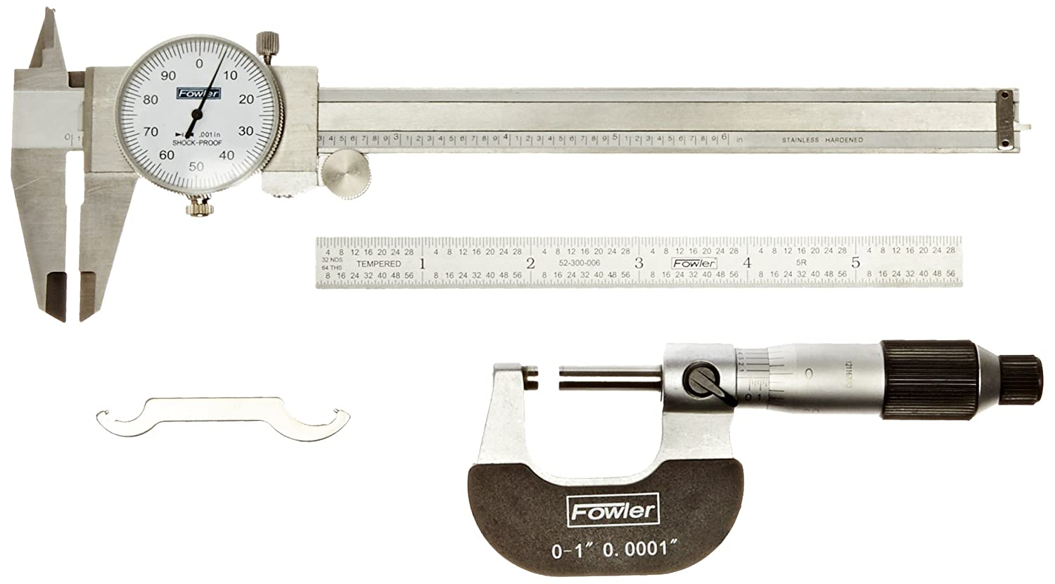 "Fowler 52-095-007 Toolmakers Universal Measuring Set, 6"" Dial Caliper, 6"" Flexible Rule, Micrometer 6"" Dial Caliper 6"" Flexible Rule Fred V. Fowler Company Inc."