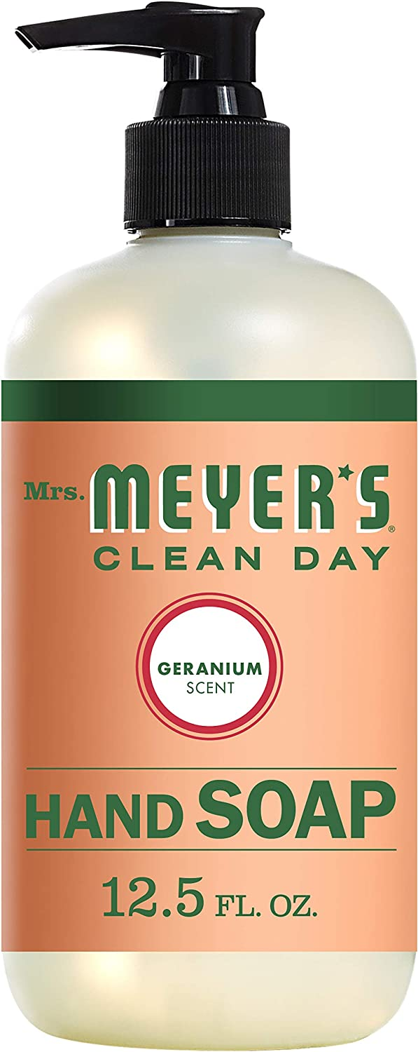 Mrs. Meyer's Clean Day Liquid Hand Soap, Cruelty Free and Biodegradable Hand Wash Made with Essential Oils, Geranium Scent, 12.5 oz Bottle: Health & Personal Care