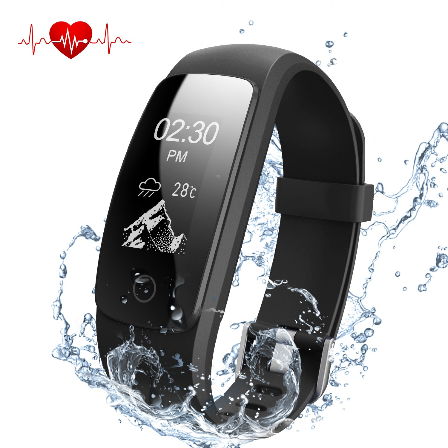 Dbpower Fitness Tracker With Heart Rate Monitor Smart Wristband F1 Plus Original Bracelet Color Screen Activity Ip67 Waterproof Step Sleep Calorie