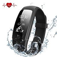 DBPOWER IP67 - Fitness Tracker per frequenza cardiaca, bracciale smart impermeabile, con Activity Tracker, orologio con contacalorie, contapassi + fascia di ricambio per Android e iOS