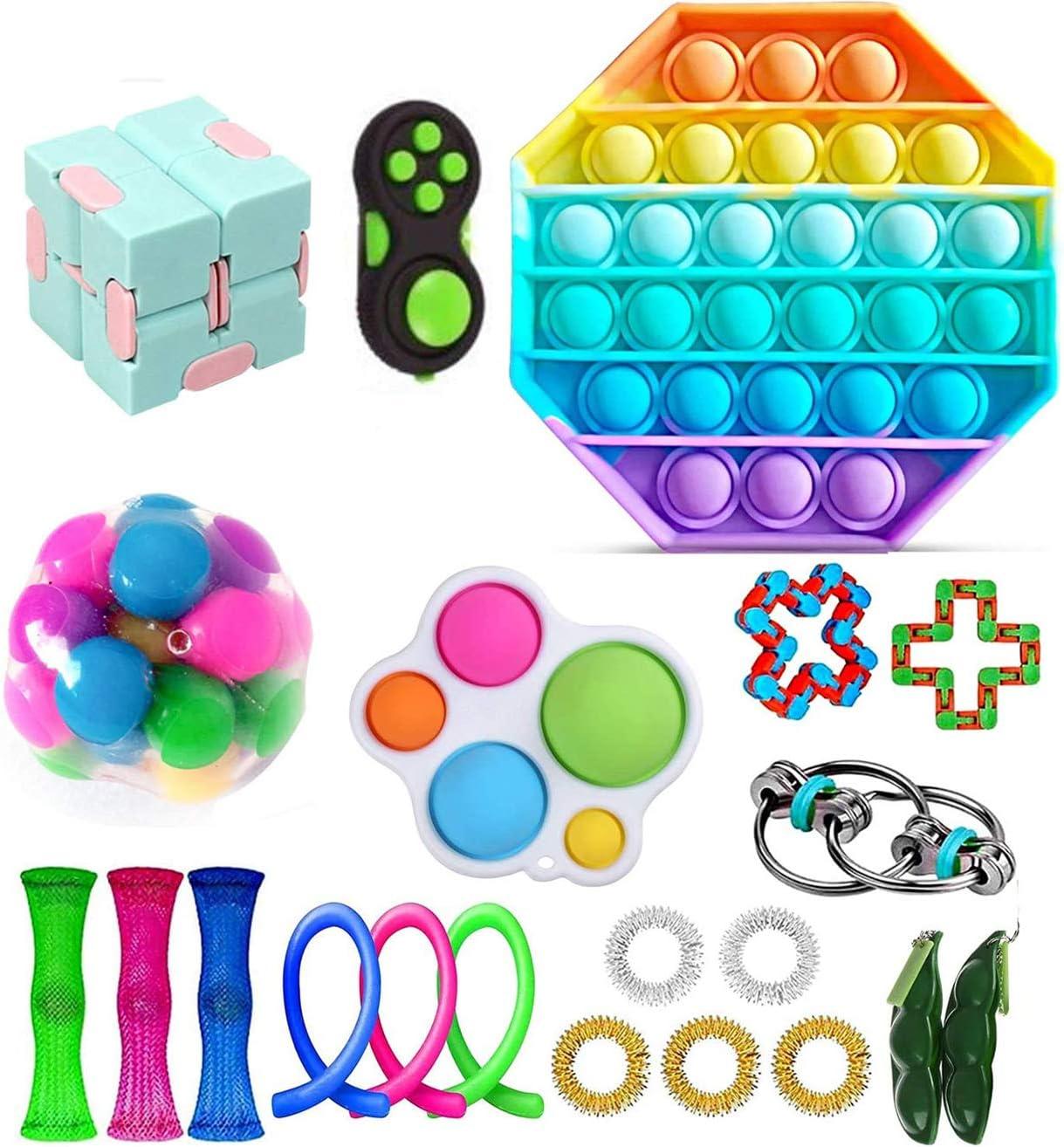 Fidget Toy Packs, Set De Juguetes Sensoriales Fidget Baratos con Simple Dimple Pop Bubble Infinite Cube Stress Ball y Anti Stress Relief Toy Stress Ball