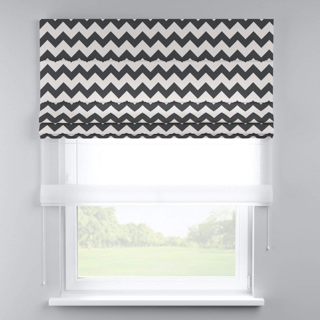 Dekoria Raffrollo Duo ohne Bohren Blickdicht Faltvorhang Raffgardine Wohnzimmer Schlafzimmer Kinderzimmer 130 × 170 cm schwarz- Weiss Raffrollos auf Maß maßanfertigung möglich
