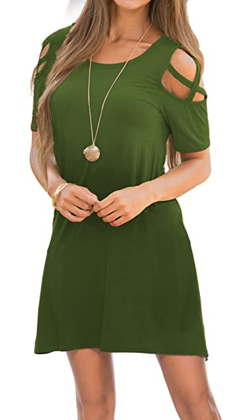 0e5c00103d35 Womens Short Sleeve Cold Shoulder Dresses Pockets Strappy Casual T Shirt  Dress ArmyGreen S