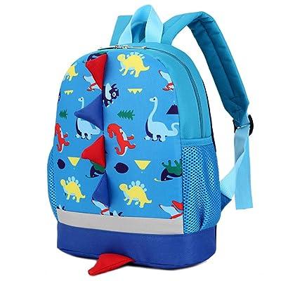 Mochilas Casual de Escolares con Patrón de Aleta Dorsal de Dinosaurio Infantil de Personalidad de Moda Paquete de Viaje y Ocio para Mujeres Chicas y Niñas Diario Messenger Bag Backpack (Azul): Equipaje