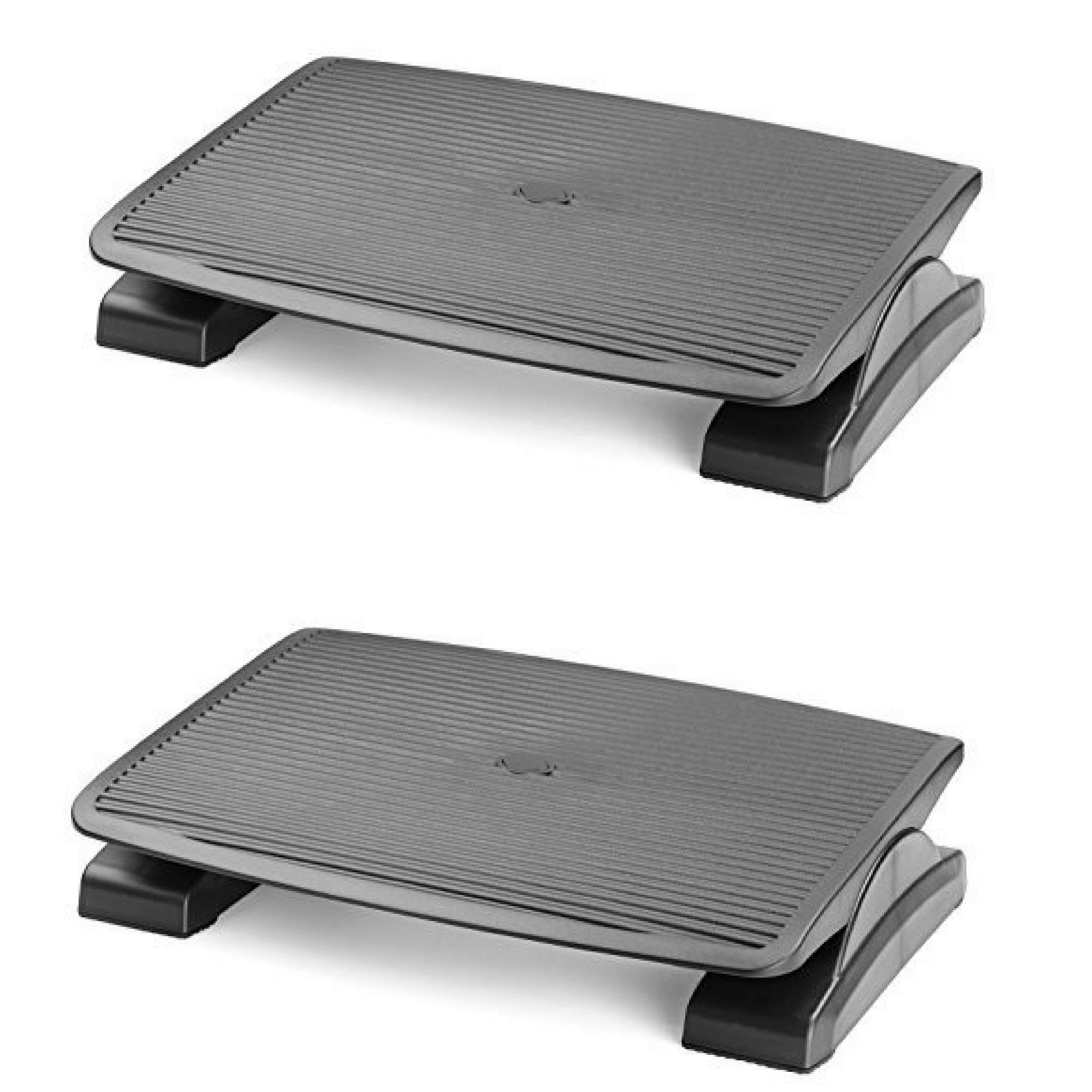 Under Desk Foot Rest, Black Footstool & Office Footrest, Adjustable Angle Positions 13.8'' X 17.7'' - Great for Home & Work - 2 Pack
