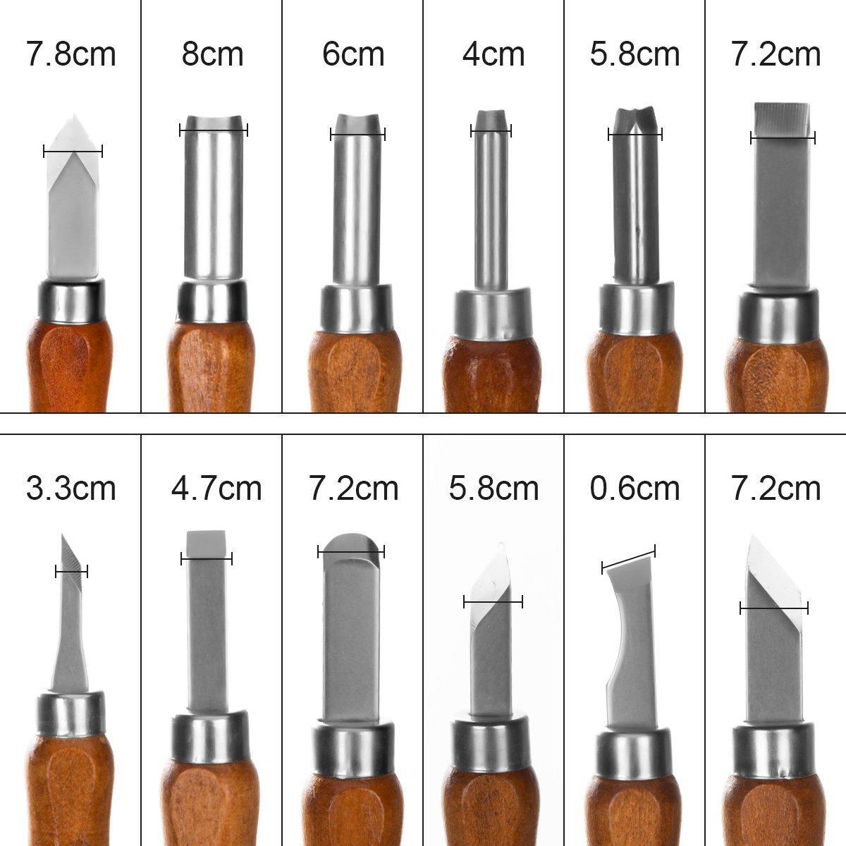 iSwank Cinceles para Madera, Juego de Cinceles 12 tipos 14 cm Gubias Cuchillos Herramientas para Tallar Madera Cera Aceituna Nuez Arcilla para ...