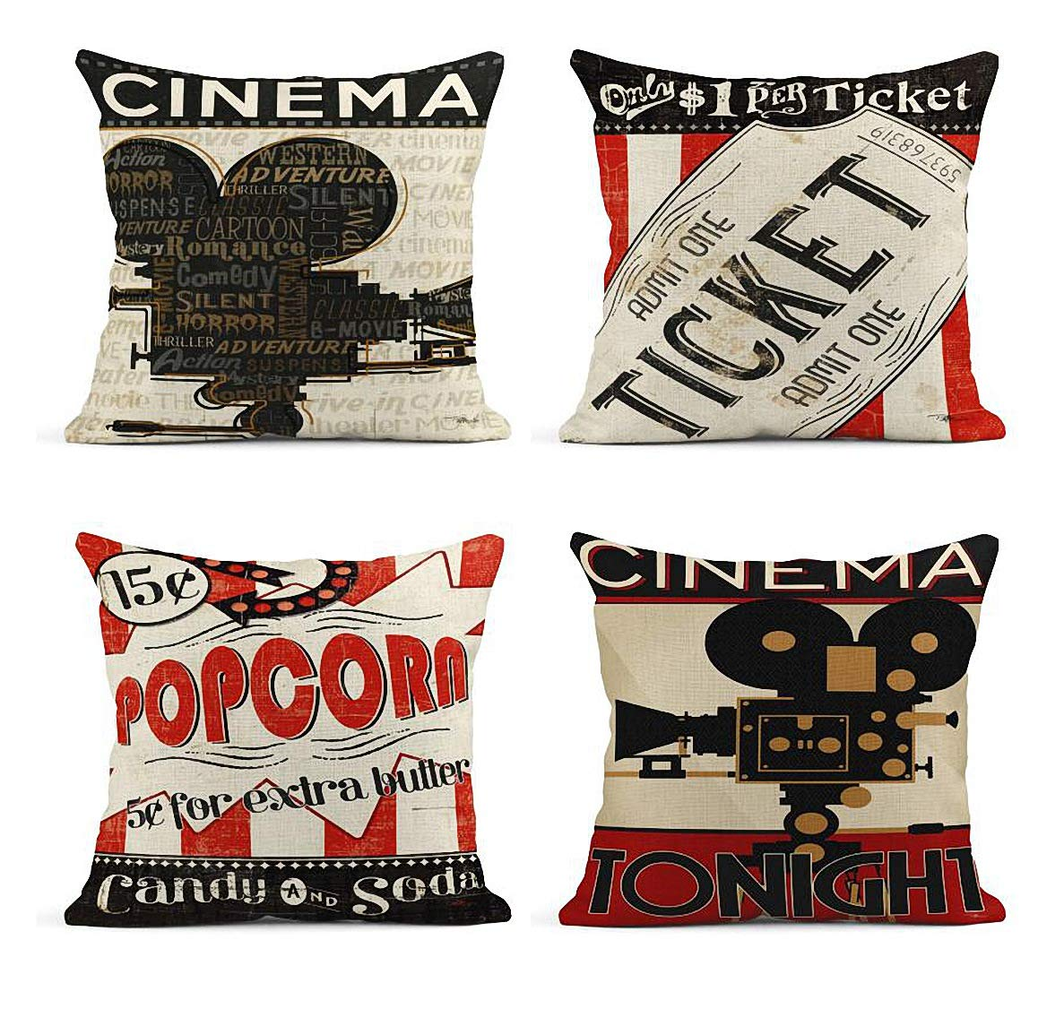ArtSocket Set of 4 Linen Throw Pillow Covers Vintage Cinema Movie Theater Fresh Popcorn Projector Admit One Decorative Pillow Cases Home Decor Square 18x18 inches Pillowcases