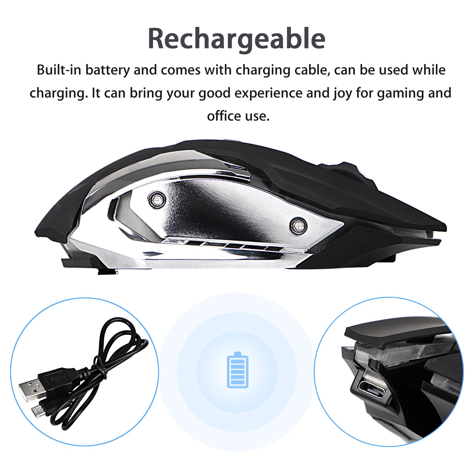 Wireless Optical Gaming Mouse with USB Receiver LinkStyle Color Changing Wireless Laptop Mouse, Rechargeable Game Mice with 4 Adjustable CPI Levels for PC, Laptop, Computer, Macbook & Gaming Players by LinkStyle (Image #4)