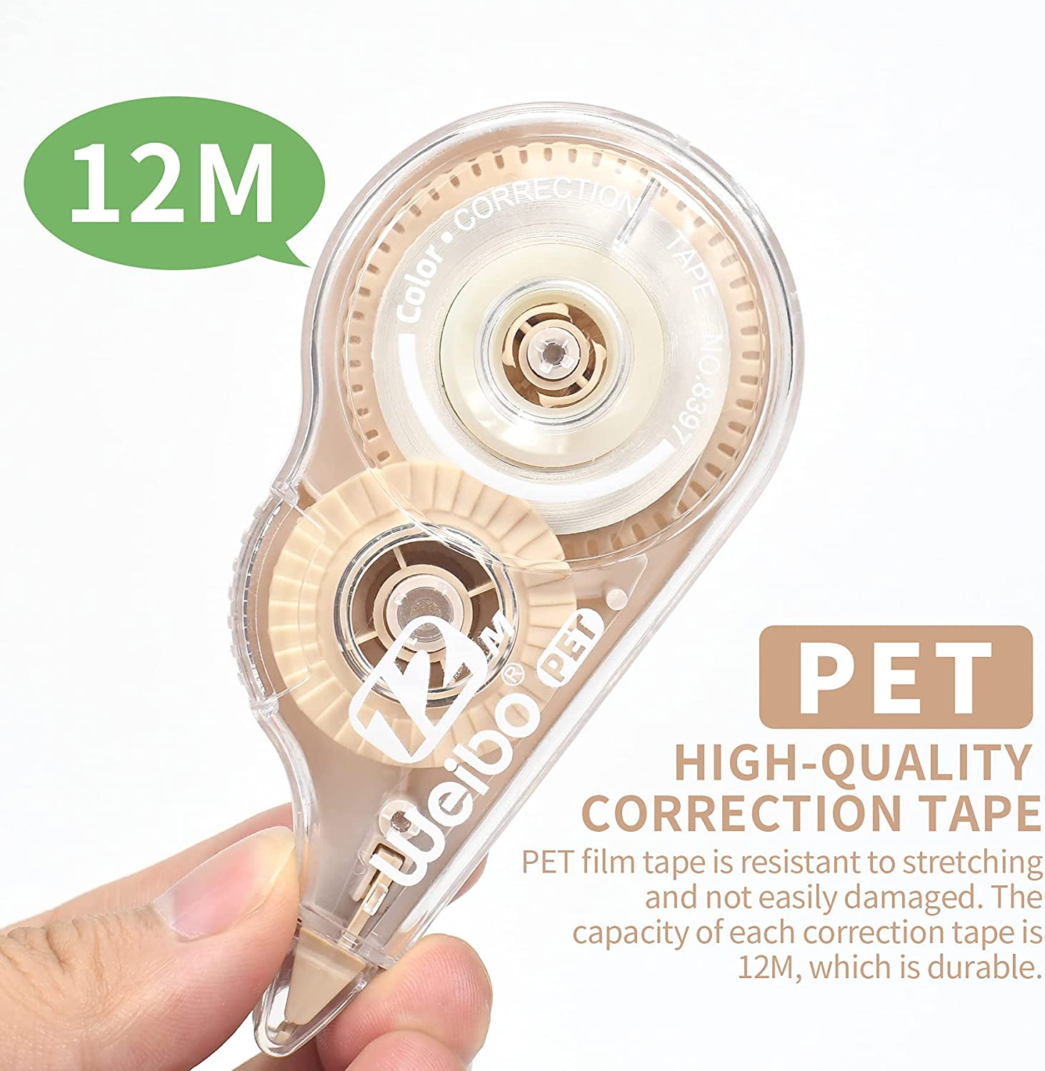 WeiBo Whiteout Correction Tape, Easy To Use Applicator for Instant Corrections, For Office Administration, Note Taking, Marking, Crafting, Bullet Journal, Scrapbooking (Pack Of 6, 12m/472in) : Office Products