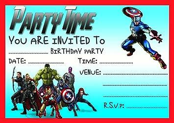 Avengers childrens birthday party invites invitations x 10 pack with avengers childrens birthday party invites invitations x 10 pack with envelopes thor the hulk captain america filmwisefo