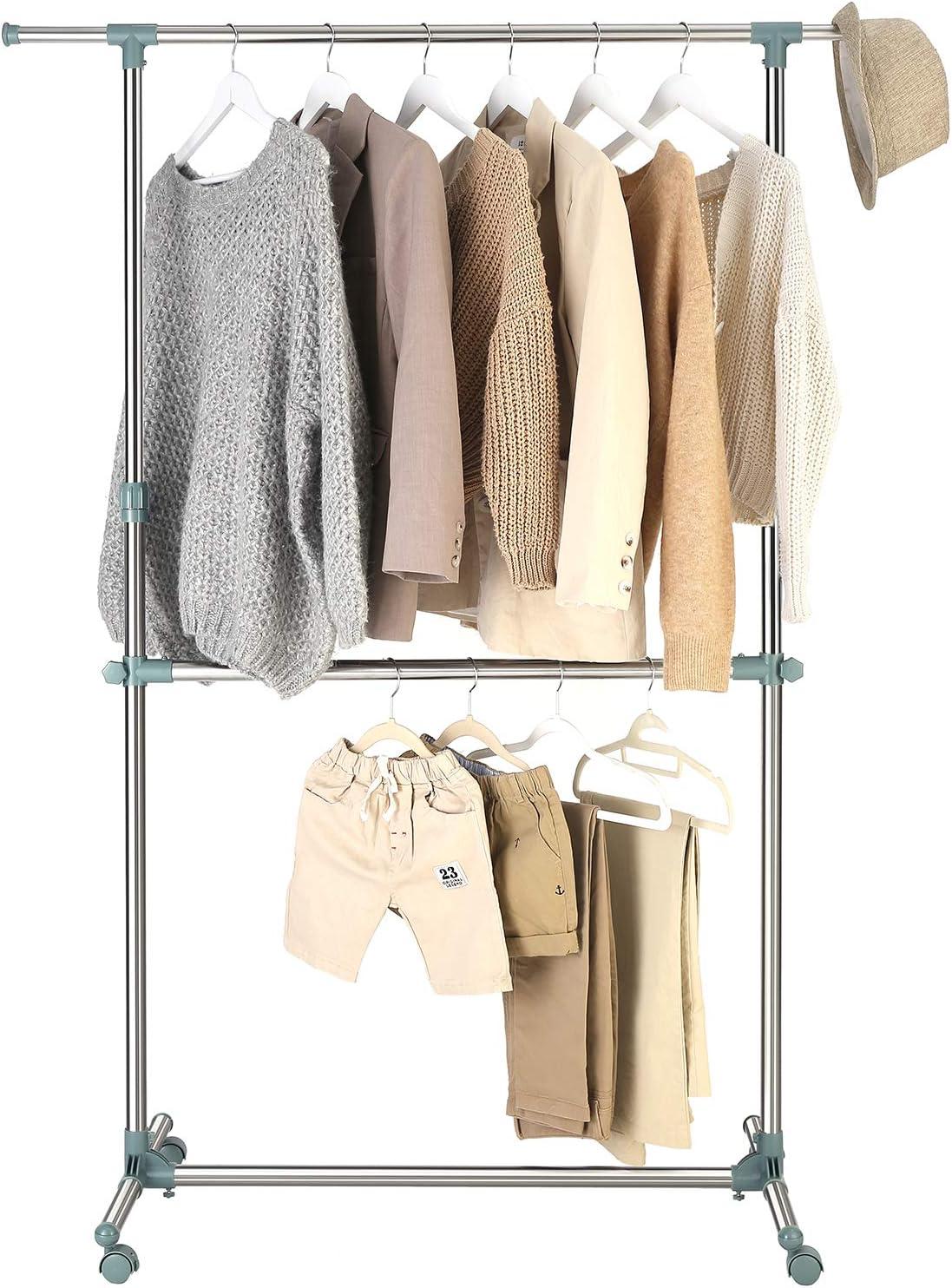 Silber-graugr/ün LLR04GG SONGMICS Kleiderst/änder h/öhenverstellbar cm zus/ätzliche Stange im mittleren Bereich, 101-166 x 49 x ausziehbare Kleiderstange Garderobenst/änder 113-198