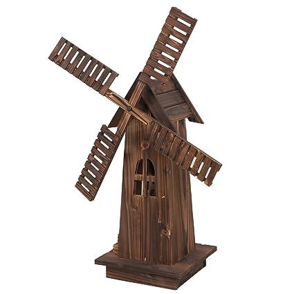 Nova Microdermabrasion 34u0026quot; Wooden Dutch Windmill For Garden Yard  Classic Old Decorative Windmill Brown
