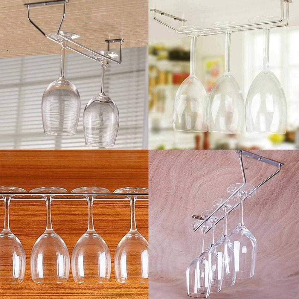 Silver, 10.6 Glass Goblet Champagne Stemware Stainless Steel Holder for Bar Kitchen Wine Glass Rack Under Cabinet Hanging Holder