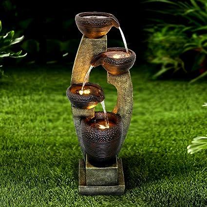 Amazon Com Chillscreamni 40 H Modern Outdoor Fountain 4 Crocks Outdoor Garden Fountains With Contemporary Design For Garden Patio Deck Porch Backyard And Home Art Decor Kitchen Dining