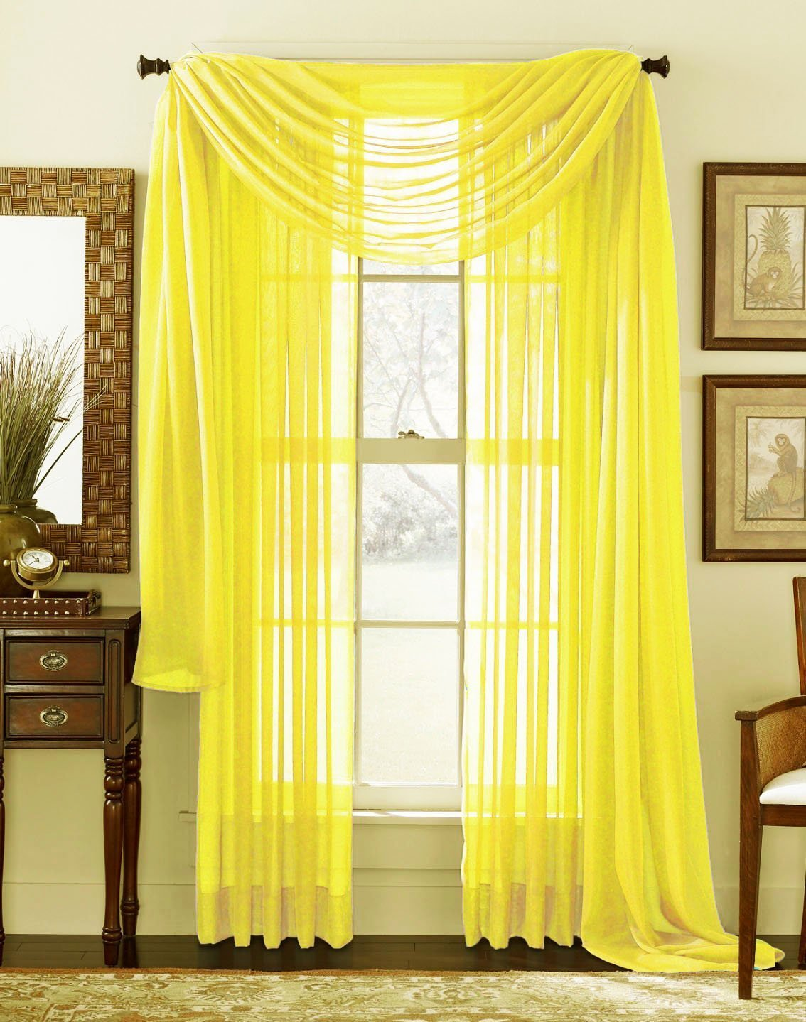 Luxury Discounts 2 Piece Solid Elegant Sheer Curtains Fully Stitched Panels Window Treatment Drape Yellow