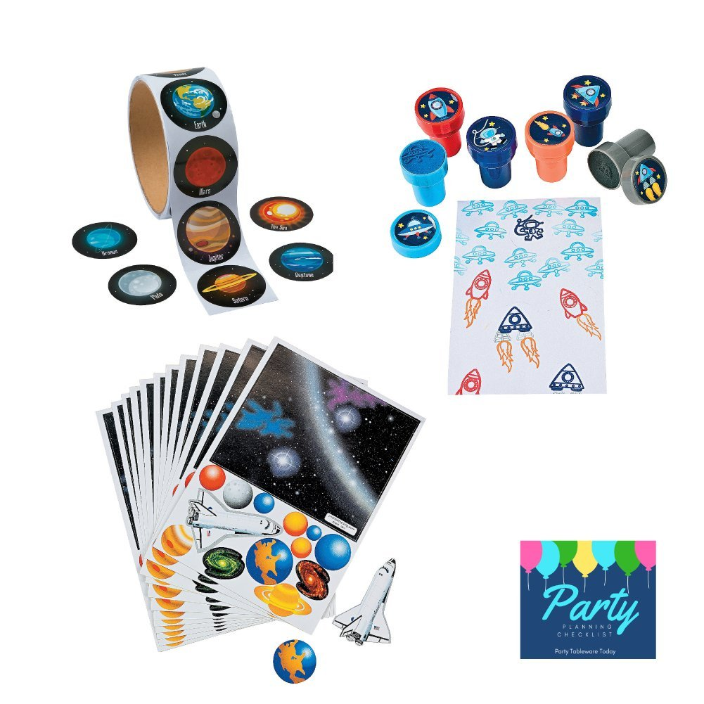 Space Solar System Birthday Party Favors - (100) Stickers, (24) Stamps, (12) Solar System Scene Sticker Sheets