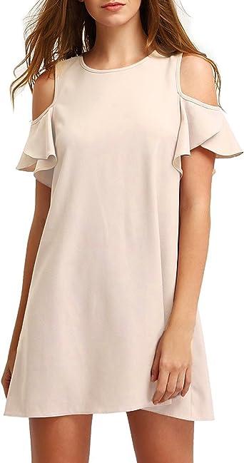 Kisslace Femme Robe Tunique Manches Courtes Coton Lache Unie Epaules Nue Mini Robe Ete Top Blouse Longue Casual Amazon Fr Vetements Et Accessoires