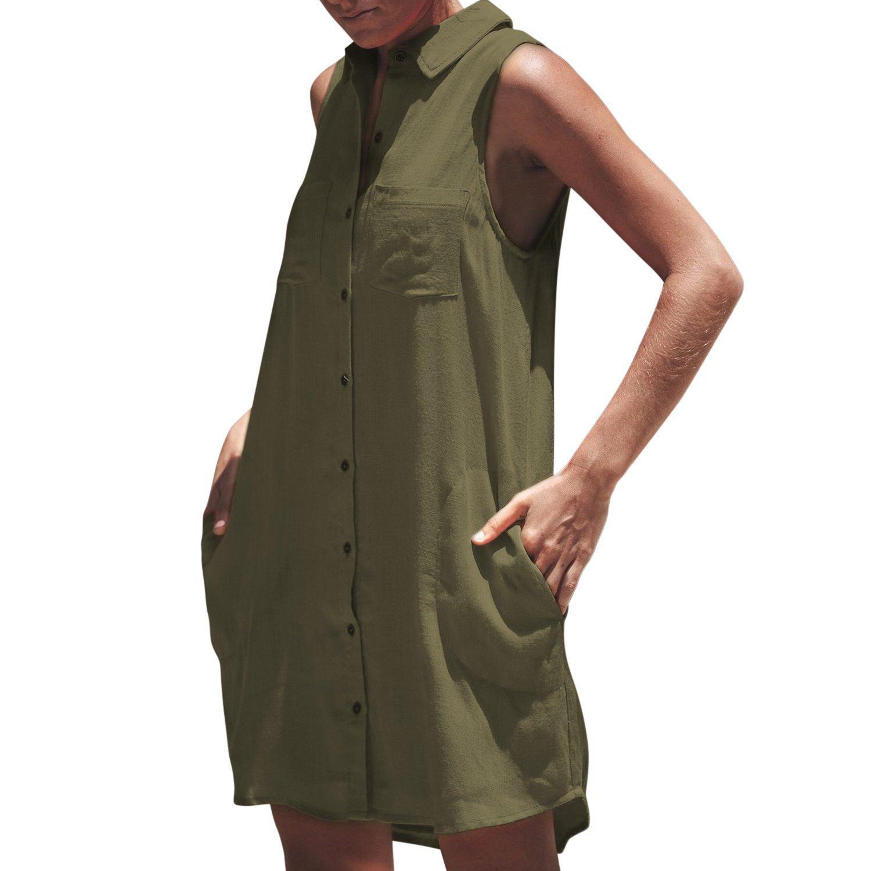 Misscat Women's Sleeveless Mini Dress Button-Down Pockets Polo Shirt Loose Tops