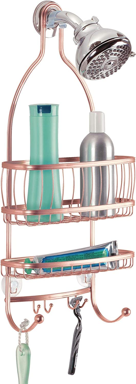 "iDesign York Metal Wire Hanging Shower Caddy, Extra Wide Space for Shampoo, Conditioner, and Soap with Hooks for Razors, Towels, and More, 10"" x 4"" x 22"", Rose Gold"