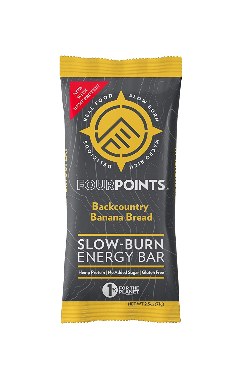 Fourpoints Energy Bars, Backcountry Banana Bread, Plant Based Hemp Protein, (2.5oz, Box of 12), Vegan, Paleo, Gluten Free, NO Addded Sugar