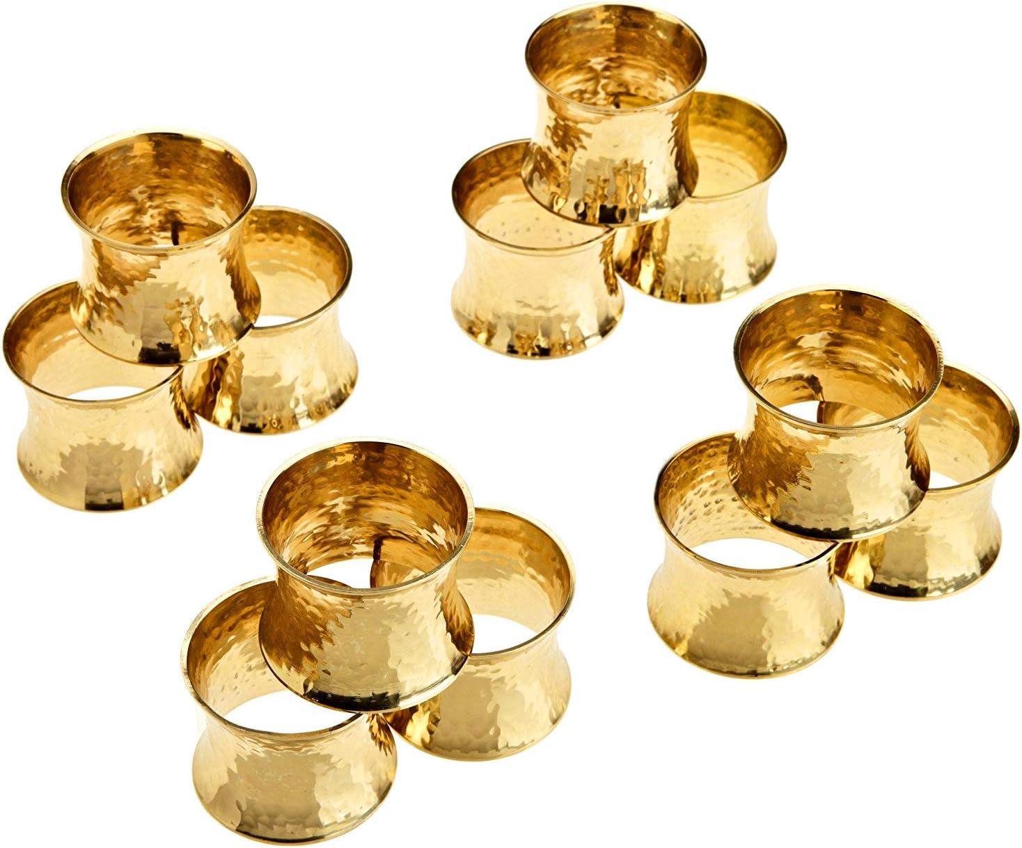 SKAVIJ Gold Metall Solide Geh/ämmert Serviettenring-Set f/ür Esstischdekoration 6 st/ück