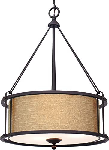 Kira Home Maxwell 17.5″ Modern 3-Light Metal Drum Chandelier Tempered Glass Diffuser