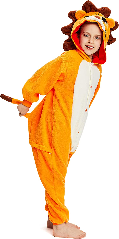 NEWCOSPLAY Unisex Children Animal Lion Pajamas Halloween Costume