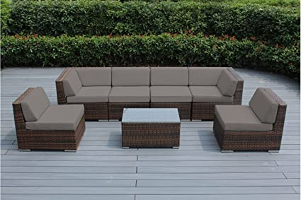 Genuine Ohana Outdoor Patio Sofa Sectional Wicker Furniture Mixed Brown 7pc Couch Set (Sunbrella Taupe)