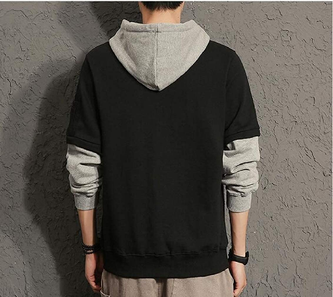 Hokny TD Mens Tops Slim Fit Round Neck Patchwork Hoodie Pullover Sweatshirts