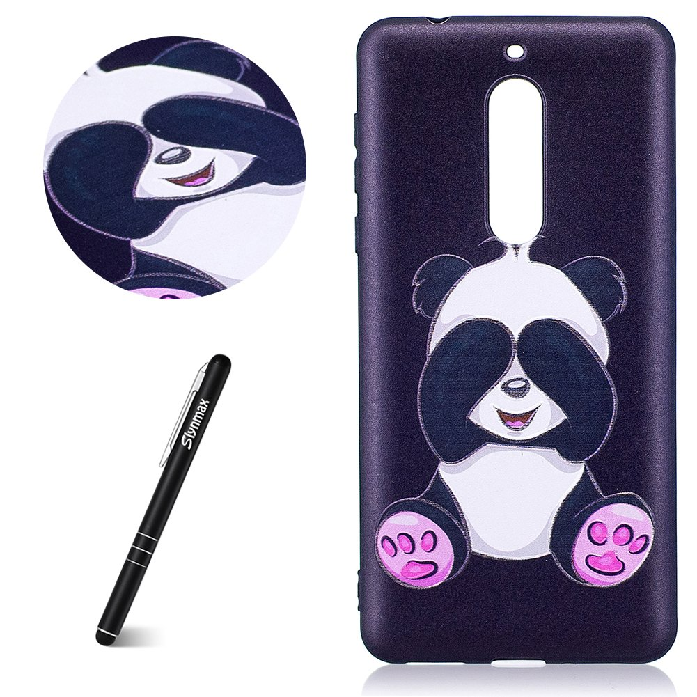 Nokia 5 Phone Case, Nokia 5 Case Silicone, Slynmax Nokia 5 Phone Case Ultra Slim Fit Lightweight Luxury Oil Smooth Touch Embossed Cute Panda Design Crystal Clear Soft Flexible TPU Gel Anti-Drop Shockproof Protective case for Girl Lady Kids Women Outdoor Pr