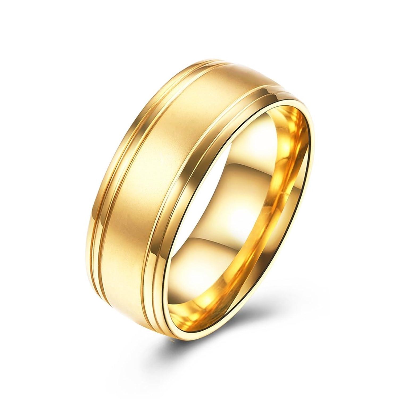 Epinki 8MM Cepillado Llanura Sencillo Acero Inoxidable Oro Boda Anillo Para Hombre Y Mujer