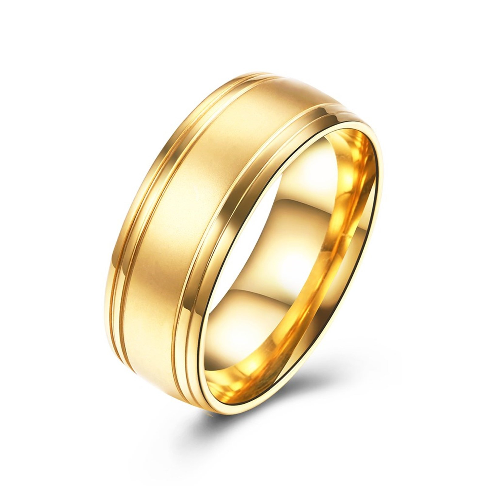 Epinki 8MM Brushed Plain Simple Stainless Steel Gold Wedding Ring Band Size 7 Men Accessories