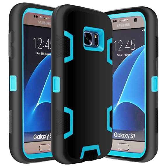 huge discount 762aa 39db1 E LV Galaxy S7 Case Hybrid Defender Rugged Shockproof Dirtproof Case Cover  for Samsung Galaxy S7 - [Black/Turquoise]