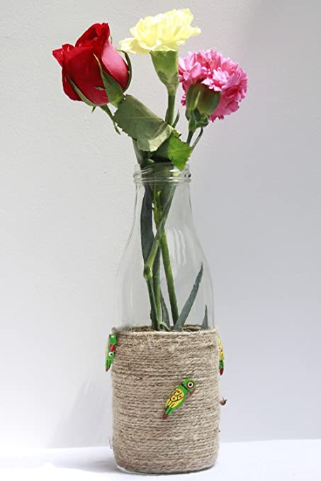 Buy Decoratvie Glass Bottle Vase Decorated With Twine And Parrot