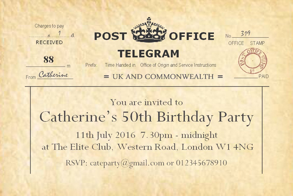 50 BIRTHDAY INVITATIONS Personalised for You. \'Vintage Telegram ...