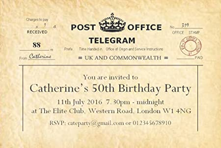 50 BIRTHDAY INVITATIONS Personalised For You Vintage Telegram Invites 18th 21st 30th