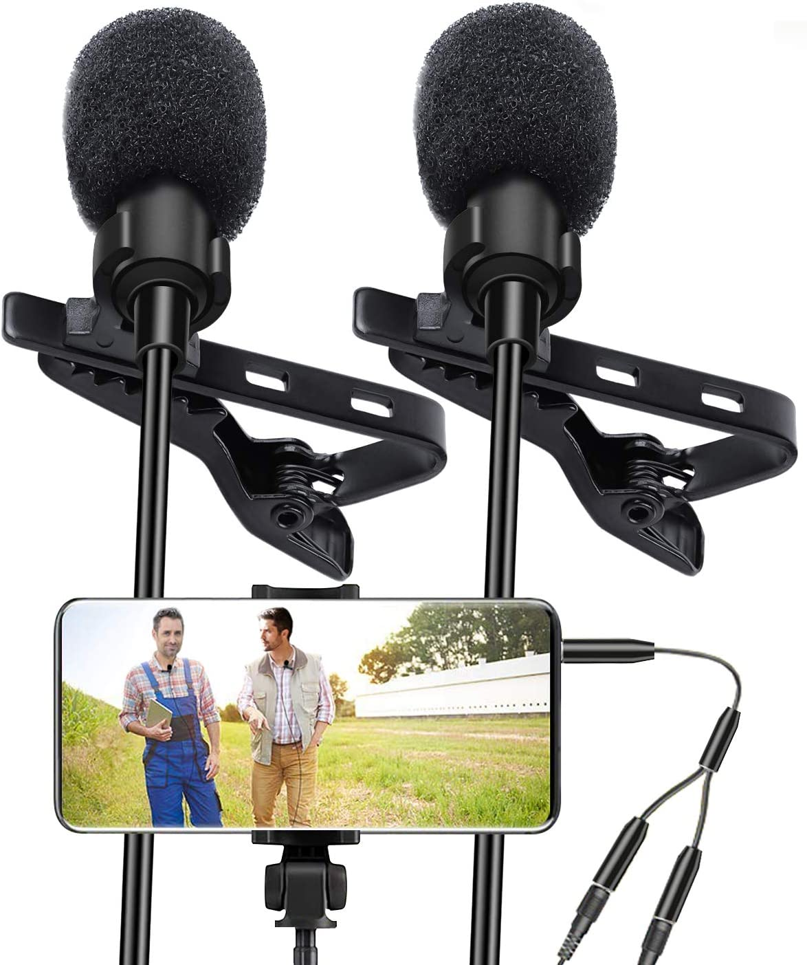 MOMAN MA6 Lavalier Microphone Clip-on Omnidirectional Mic with Auto Pairing 6 Meter//19.7 Feet Cord for iPhone Android Smartphone DSLR Camera Perfect for Broadcast Interview Youtube Video Recording