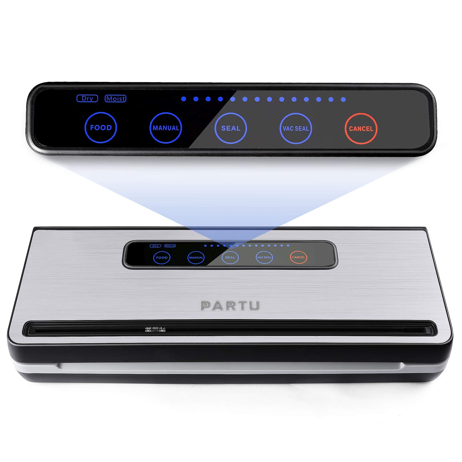 PARTU Vacuum Sealer Machine for Keeping Fresh on Summer Dry Moist Mode Include Vacuum Sealer Bag 11 x 118 Applicable to External Suction Pipe Fresh-keeping Tank and Clothes Storage