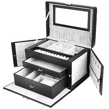 FEMOR Caja de Joyería Estuche de Relojes Caja de Gafas Estuche de Comésticos Organizador de Maquillaje (Negro+Gris)
