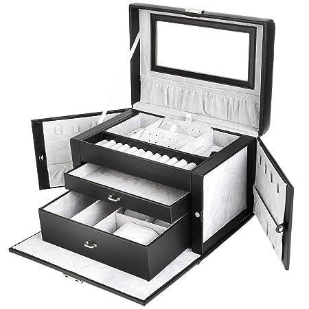 FEMOR Caja de Joyería Estuche de Relojes Caja de Gafas Estuche de Comésticos Organizador de Maquillaje (Negro+Gris): Amazon.es: Juguetes y juegos