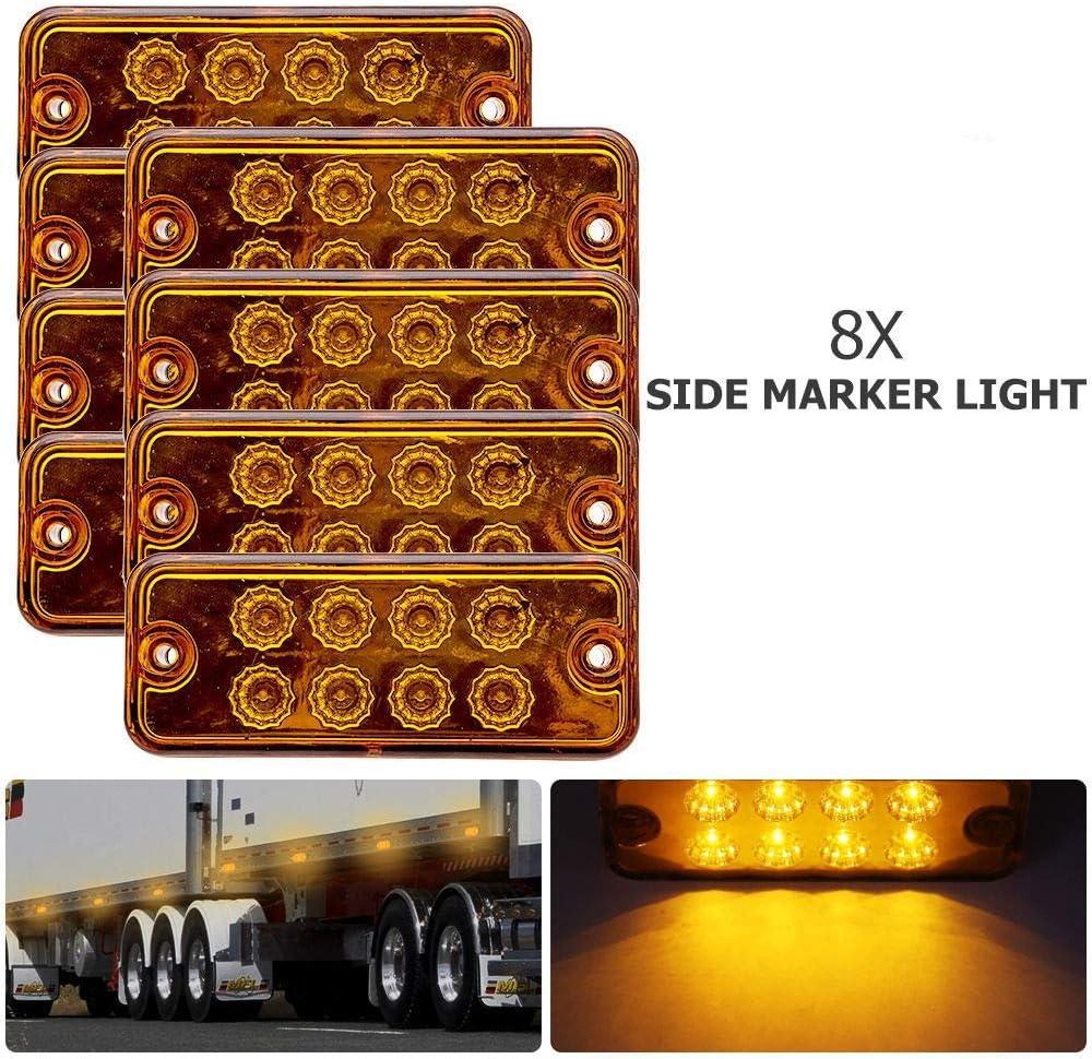10 X  Orange  12V 9 LED Side Front Marker Indicators Lights Lamp Truck Trailer