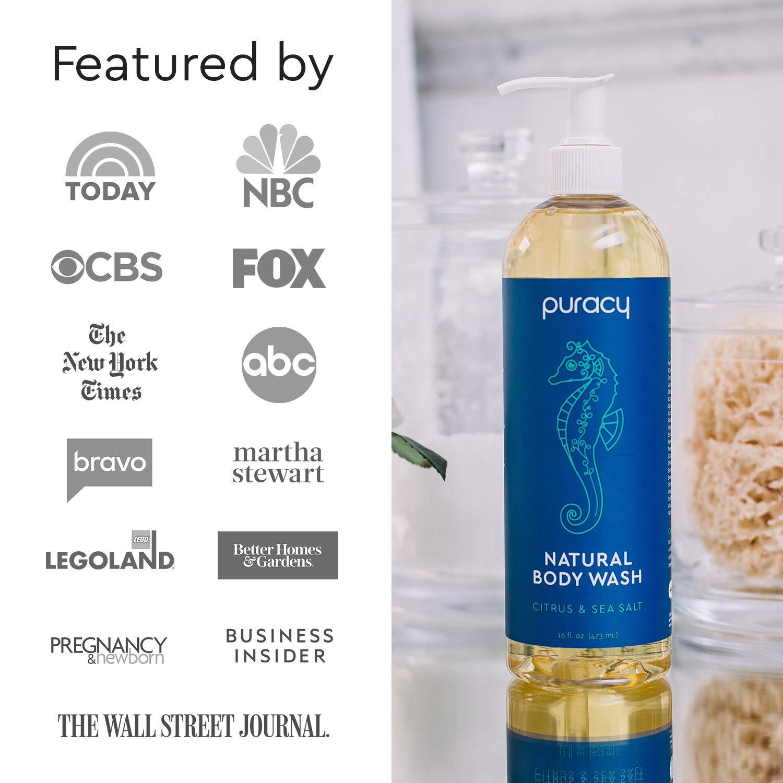 Puracy Body Wash, Citrus & Sea Salt, Natural Bath & Shower Gel for Men and Women, 16 Ounce (2-Pack) : Beauty