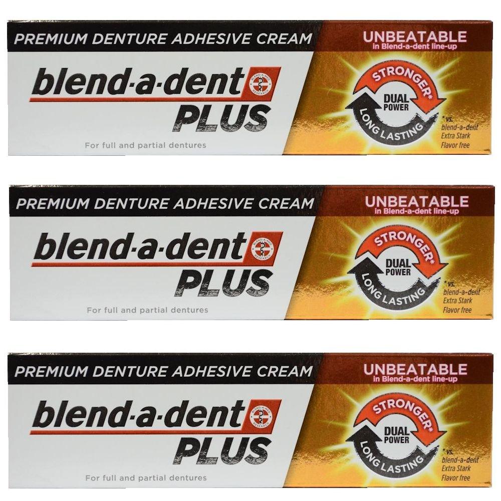 German blend-a-dent PLUS Premium Denture Adhesive Cream Dual Power 40g (3 pack)