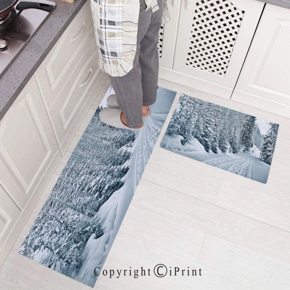 Kitchen Rugs,2 Pieces Non-Slip Flannel Kitchen Mat Rubber Backing Doormat,Seasonal Computer Generated Image Mountains Snowy Road Curved Road Transportation Runner Rug Set 15.7x23.6+15.7x47.2,