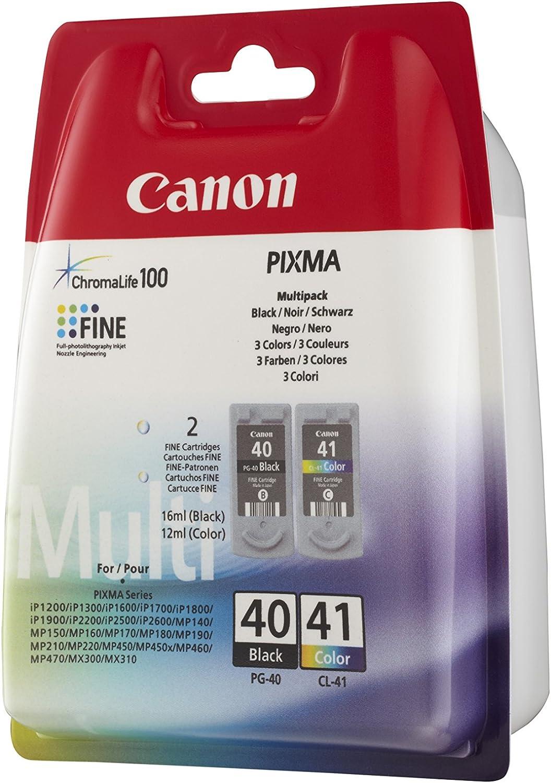 Canon PG40 & CL41 - Pack de 2 Cartuchos de Tinta Original, Negro, Color: Amazon.es: Electrónica
