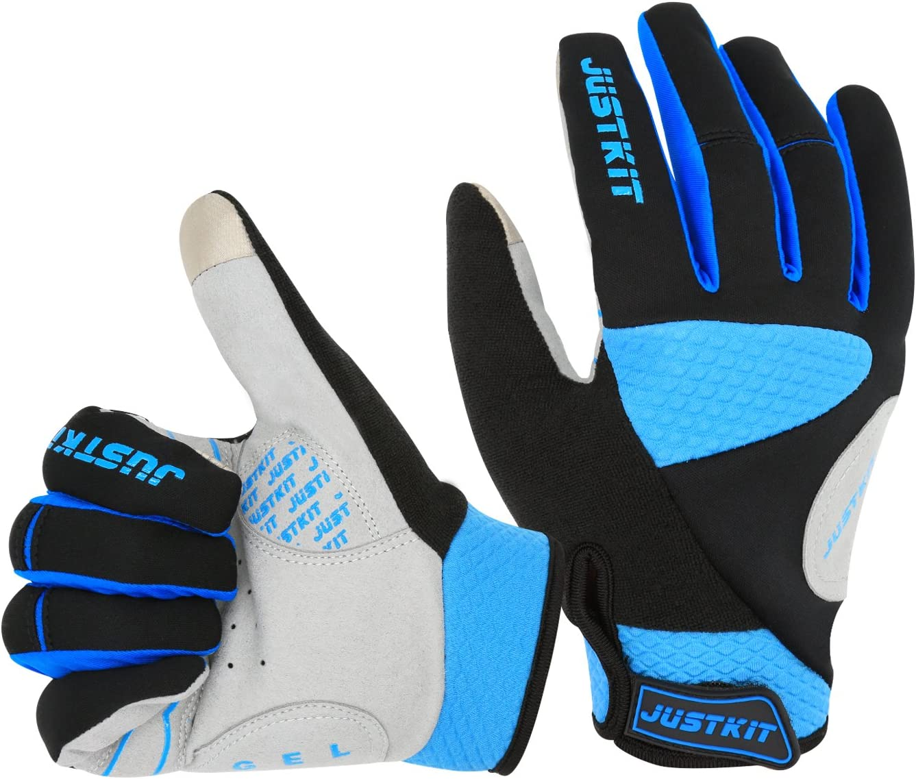 JUSTKIT Cycling Gloves -Touch Screen Full Finger Bike Gloves - Windproof Mountain Bike Gloves - Road Racing Bicycle Gloves - Gel Pad Biking Gloves for Women and Men