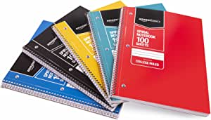 AmazonBasics College Ruled Wirebound Spiral Notebook, 100 Sheet, Assorted Solid Colors, 5-Pack
