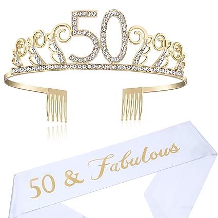 Amazon.com: Babeyond - Tiara de 50 cumpleaños y faja de ...